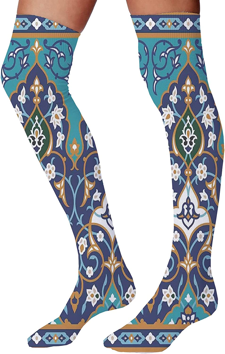 Men's and Women's Fun Socks,Ottoman Folkloric Art Inspired Abstract Aged Middle Age Renaissance Artful Print