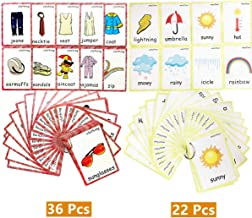 Set of Clothing and Weather Flash Cards for Toddlers | Kids Learning Flashcard & Montessori Pocket Cards Toys | Perfect for Pre-K Decor Background Wall Stickers, Teacher/Autism Therapists Tools