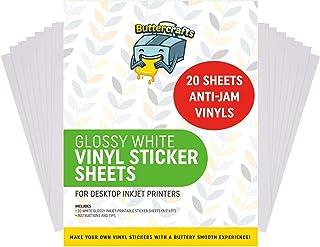 Printable Vinyl for Inkjet Printer (Glossy White | Waterproof | 20 Sheets) - Printable Vinyl for Inkjet Printer Avoid Jams...