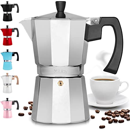 Zulay Classic Stovetop Espresso Maker for Great Flavored Strong Espresso, Classic Italian Style 3 Espresso Cup Moka Pot, Makes Delicious Coffee, Easy to Operate & Quick Cleanup Pot (Silver)