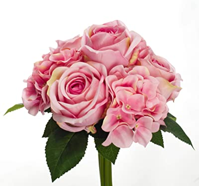 14 Larksilk Bouquet of 6 Artificial Pink Roses