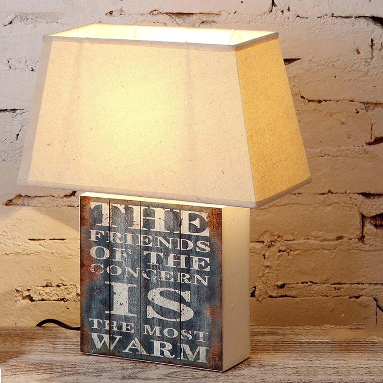 LEGELY Quadratische Holztischlampe, E27, beige, doppelter Buchstabe Firmenzeichen, Schlafzimmer Nachttischlampe, amerikanisches Dorf Retro Art
