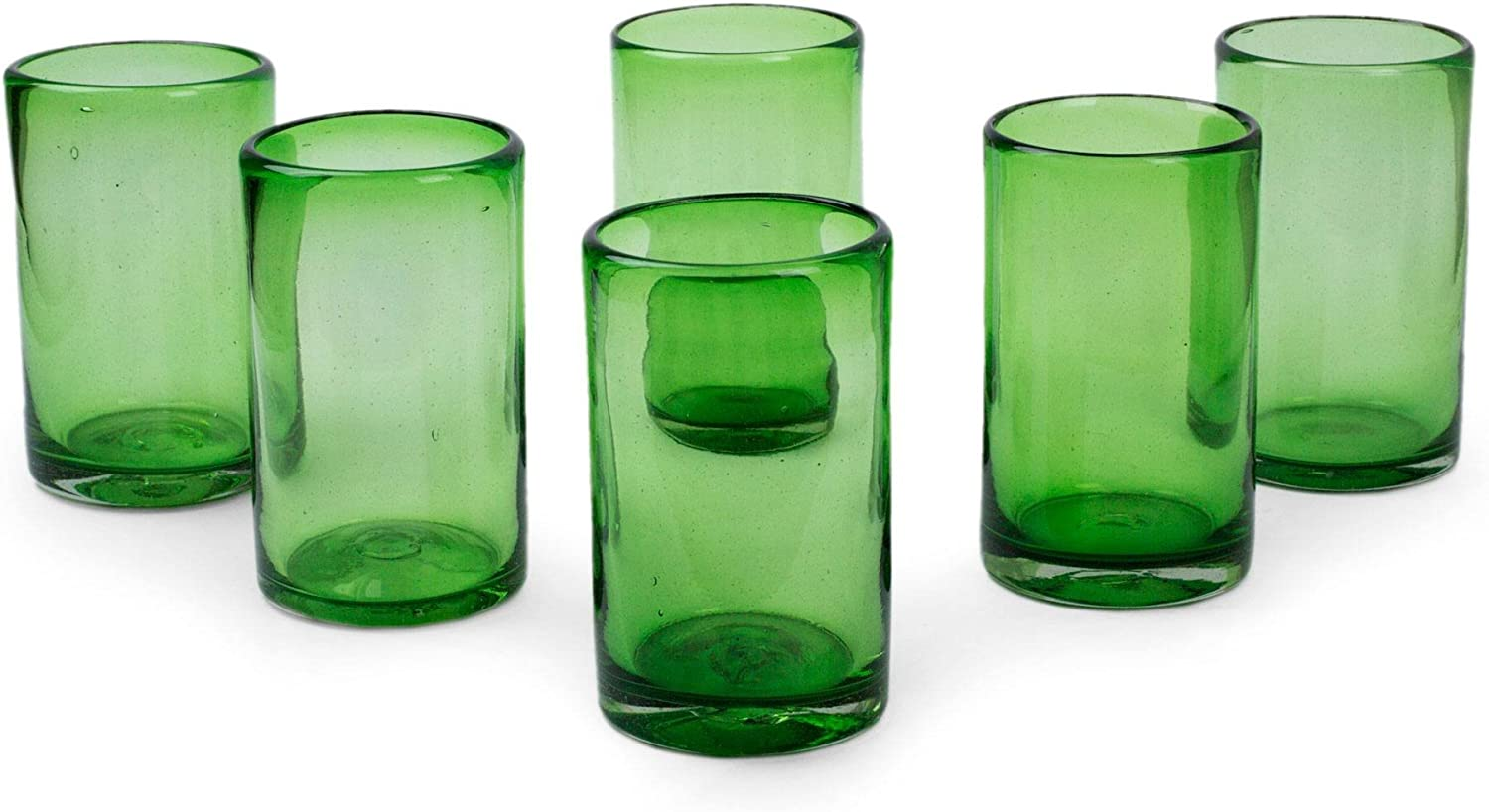 Translated NOVICA Hand Blown Recycled Glass Green Super special price Glasses 'Eme 13 Water oz