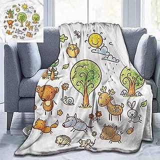 Christmas Throw Blanket Woodland Family Blanket,Deer Bear Boar and Wolf