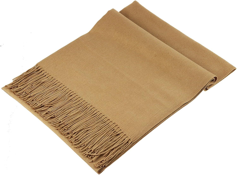 JAKY-Global Pashmina Schal oder Überwurf Kaschmir-schal für Damen Herren super weich warm, 198 cm x 68 cm als Männerschal oder Damenschal Kamel