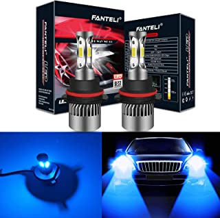 FANTELI 9007/HB5 10000K-12000K Deep Blue 3-Sided LED Headlight Bulbs All-in-One Conversion Kit - 72W 8000lm Dual Hi/Lo Beam Extremely Bright