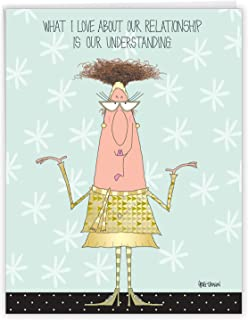 Large Funny Anniversary Card - 'Understanding Relationship' With Envelope (Extra Large Version: 8.5'' x 11'') - A Greeting...
