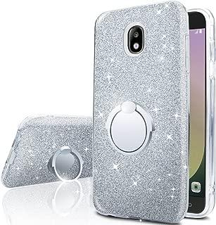 Galaxy J7 Aero/J7 Top/J7 Crown/J7 Aura/J7Refine/J7 Eon/J7 Star Case With 360 Rotating Ring Stand, Silverback Girls Women Cute Bling Glitter Protective Case Cover for Samsung Galaxy j7 2018 -Silver