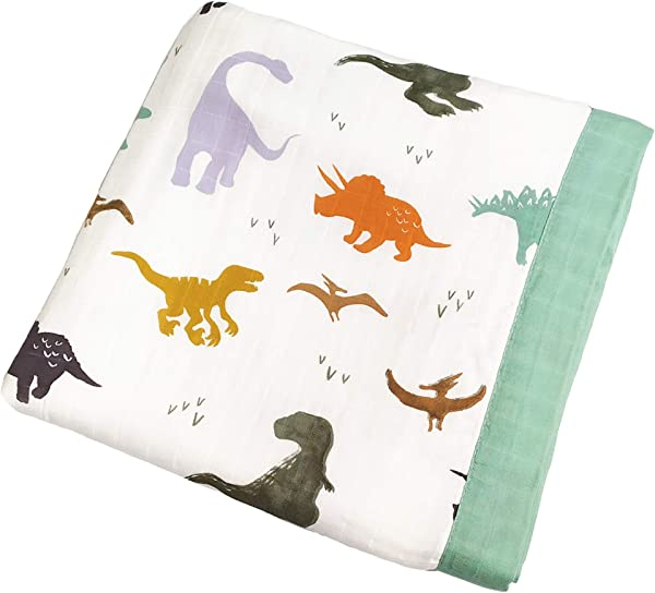 Muslin 幼童毯子恐龙印花棉毯幼童男孩超大 47X47 2 层轻便透气婴儿车毯子
