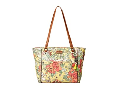 Sakroots Artist Circle Medium Satchel (Sunlight Flower Power) Tote Handbags