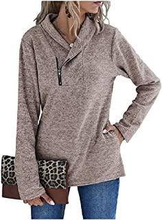 HEFASDM Women's Long Sleeve Zip-Front Plain Pullover Fall Winter Tees Shirt