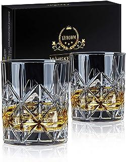 Verre Whisky, 2 Set Verres à Whisky in Cristal de 300ml, Verre à Whisky Sans Plomb pour Boire du Rhum, Verre a Whisky Pers...