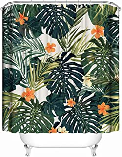 "Tropical Palm Leaves Shower Curtain, 71"" x 71"", Green Monstera Deliciosa with Flower Shower Curtain, Waterproof Washable Polyester Fabric Non Toxic Eco-Friendly No Odor Bathroom Decor with 12 Hooks"