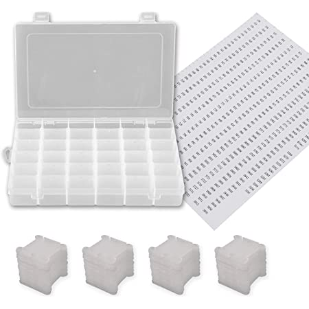 Embroidery Floss Organizer Box in 24 Compartments and 150 Hard Plastic Floss Bobbins 1 Sheet Number Stickers and 1 Sheet Blank Stickers for Cross-Stitch Weaving Crafts Jewelry Sewing
