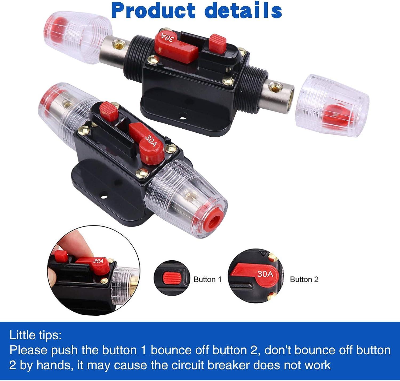 Fuse Holders RKURCK 30 Amps Audio Inline Circuit Breaker Reset ...