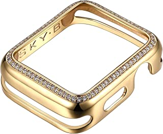 SKYB 14K/18K Gold or Rhodium Plated & CZ Jewelry-Style Apple Watch Case (Series 1-2-3-4) with Cubic Zirconia Border - Color & Size Options