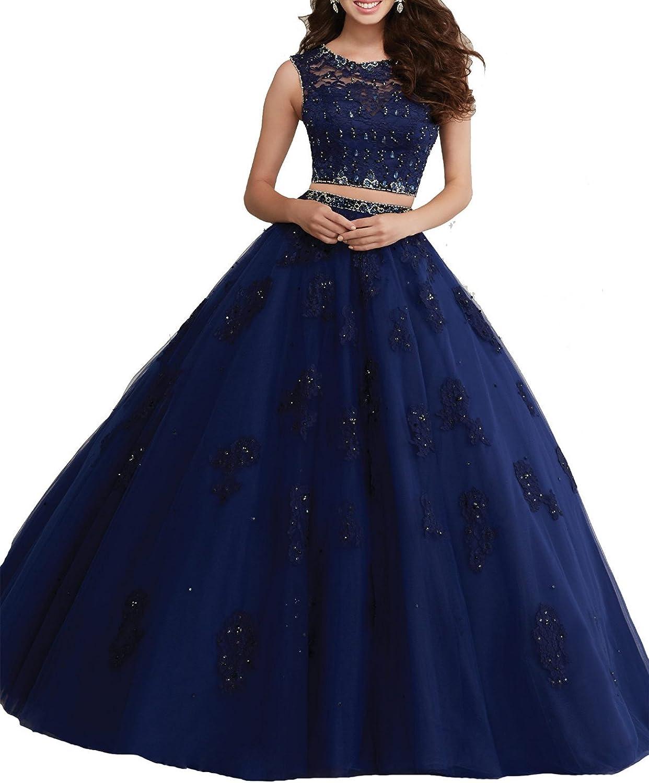 Zhu Li Ya Women's Appliques Tulle Beads Sweet 16 Prom Quinceanera Dresses