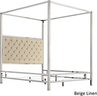 Inspire Q Solivita Chrome Metal Canopy Bed with Tufted adboard by Bold Beige Queen