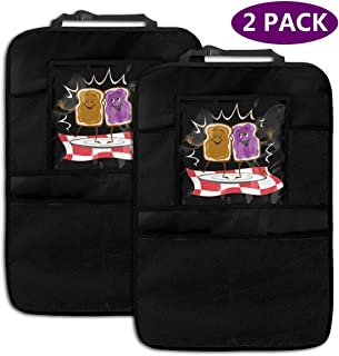 Nixboser 2 Pack Durable Car Backseat Organizer Peanut Butter and Jelly Logo Kick Mats Muti-Pocket Back Seat Storage Bag with Touch Screen Tablet Holder to Organize Toy IPad Bottle Snacks Books
