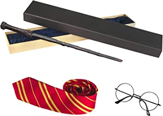 Striped Tie Novelty Glasses Frame with Wizard Wand for Cosplay Hermione Party Costume Accessories for Halloween Christmas Birthday Party Red