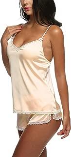 Sleepwear Satin Cami Set Sexy Nighties Silk Lingerie Short Pajamas Sets Plus Size for Women XS-XXL