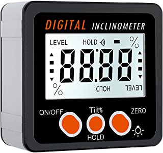 Proster Digital Protractor Angle Gauge/Bevel Gauge/Angle Finder Backlight LCD Protractor Level Box Inclinometer with Magnetic Based Waterproof