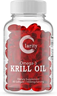 Clarity Omega 3 Krill Oil 1000mg - Maximum Strength Omega-3s EPA, DHA, Astaxanthin and Phospholipids - Supplement for Immu...