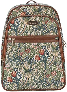 Signare Tapestry Stylish Rucksack Backpack Book Bag with Front Pocket in William Morris Golden Lily (BKPK-GLILY)