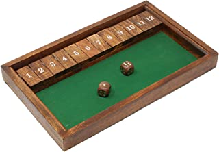 SKAVIJ Handmade Wooden Shut The Box Dice Board Game for Learning Numbers and Strategy