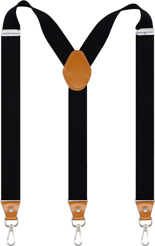 Doloise Mens Suspenders with 3 Swivel Hooks Belt Loops 1.4 Inch Wide Heavy Duty Adjustable Braces