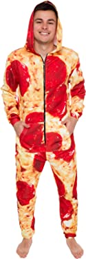 Silver Lilly Hooded Pizza Jumpsuit - Adult Pepperoni Pizza Costume - Print Long Sleeve Zip Pajamas