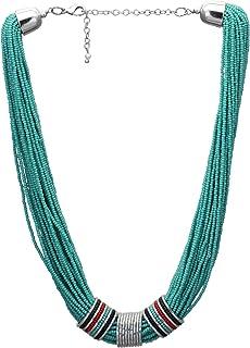El Allure Multi String Light Yellow Preciosa Glass Seed Bead Handmade Cinematic Necklace with Deattachable Multi Colour Gl...