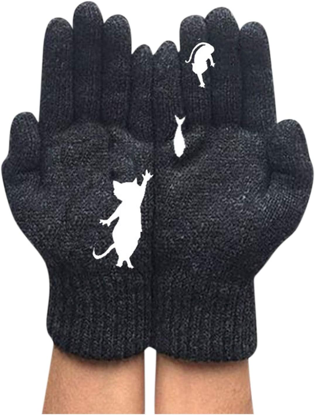 Women's Autumn Winter Warm Gloves Cable Knit Woolen Gloves Cute Dog Cat Printed Thermal Gloves for Ladies