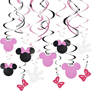 30 Ct Minnie Hanging Swirl Decorations - Ceiling Streamers for Mouse Birthday Party - Mini Mouse Theme Party Supplies - Pa...