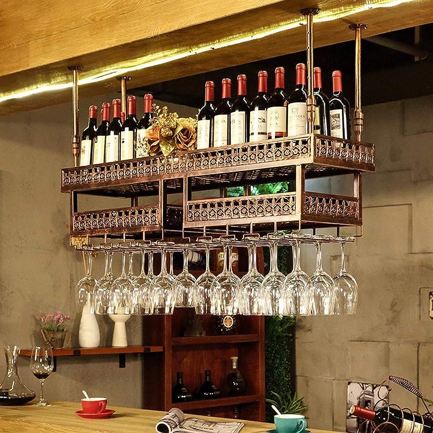 だらしない後無傷QM ワインラックダブルデッキの赤ワインラックバーカウンターカップホルダー高さ調節可能なワインラック天井ラック (色 : ブロンズ, サイズ さいず : 100x31cm)