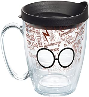 Tervis 1257888 Harry Potter - Gl and Scar Insulated Tumbler with Wrap and Black Lid, 16 oz Mug - Tritan, Clear