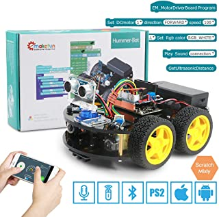 4WDSmart Robot Car Kit for Arduino with Ble UNO R3, with PS2 Port, SupportIOS/Android,Scratch,Wifi,Bluetooth,Voice,Remote,Control, Cool light,Creative mode,Learning and Education STEAM Toy and More