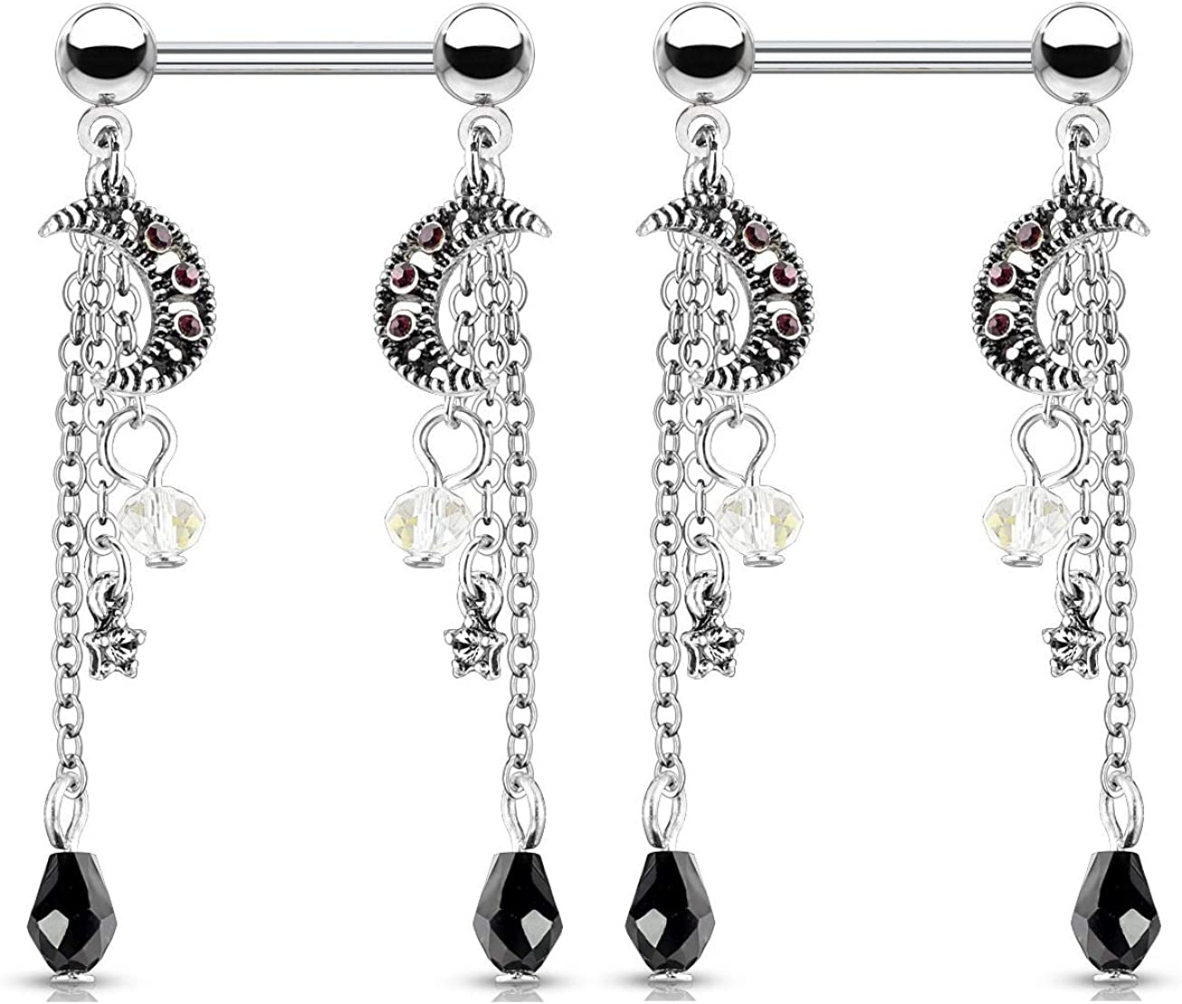 CZ Crystal Star and Moon Chain Dangle Nipple Barbells, Sold as a Pair