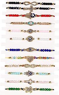 BONITTER 12 pulseras para el mal de ojo, con diseño de mariposa, cordón rojo, ajustable, con hebilla, cruz, elefante, tort...