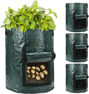 Tanzfrosch 4 Packs 10 Gallon Potato Grow Bags, Planter Pouch Bags for Vegetables, Fruits and Flowers