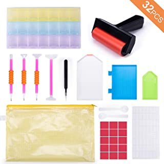 32PCS Diamond Painting Accessories with Larger Storage Box and Diamond Painting Roller Kit Tools for Adults, Kids and Beginners