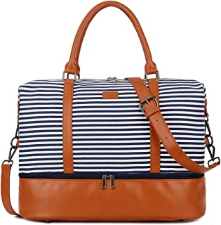 HB-28 Ladies Women Canvas Travel Weekender Bag Overnight Carry-on Duffel Tote Bag (Blue Strips with Shoe Compartment)