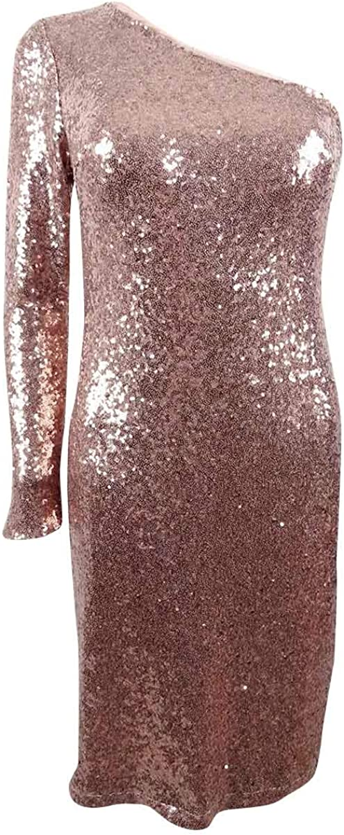 Nightway Women's One-Shoulder Sequined Sheath Dress
