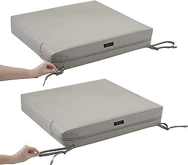 Classic Accessories Ravenna Water-Resistant 25 x 25 x 5 Inch Square Patio Seat Cushion Slip Cover & Foam, Mushroom