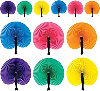 Kicko 10 Inch Folding Solid Color Paper Fan - 12 Pieces of Accordion Style Assortment - Perfect for Fiesta, Parade, Cinco de Mayo, Luau, Carnival Novelties, Party Favor and Supply
