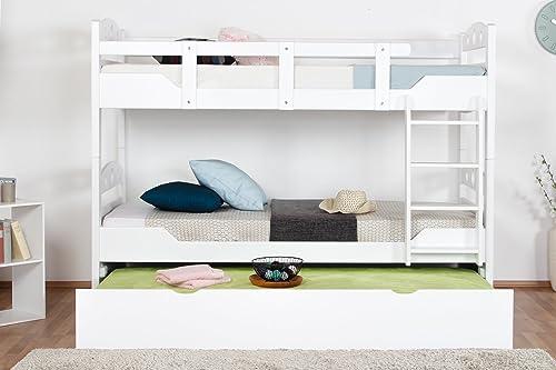 Etagenbett für Erwachsene Easy Premium Line  K11 h inkl. Liegeplatz und 2 Abdeckblenden, Kopf- und Fu il mit L ern, Buche Vollholz massiv Weiß- 90 x 200cm   (B x L), teilbar