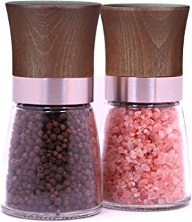 Isa Cucina Wood & Glass Salt Mill and Pepper Grinder Set (Dark Wood)