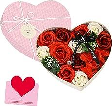 ソープフラワー バラ型 ハート型 フラワー ギフトボックス 誕生日 母の日 結婚記念日 記念日 先生の日 バレンタインデー 昇進 転居など 最適としてのプレゼント (レッド)