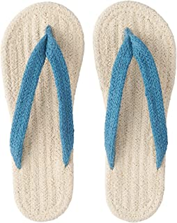 Muji Indian Cotton Blend Room Sandals XL (Ecru/Blue)