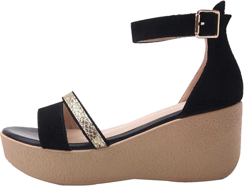 Huntty Black Women Sandals Female shoes Women Nubuck Leather Trifle shoes